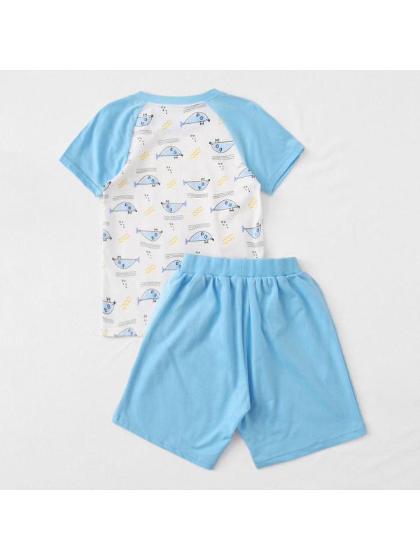 【12M-5Y】Boys Contrast Stitching Cartoon Print Short Sleeve Two-piece Suit