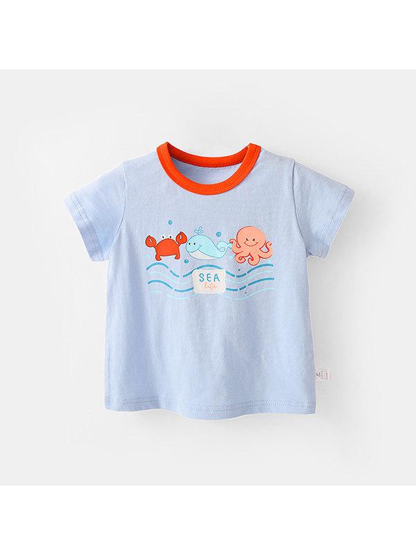 【12M-7Y】Girls Cartoon Print Color Stiching Top Round Neck T-shirt