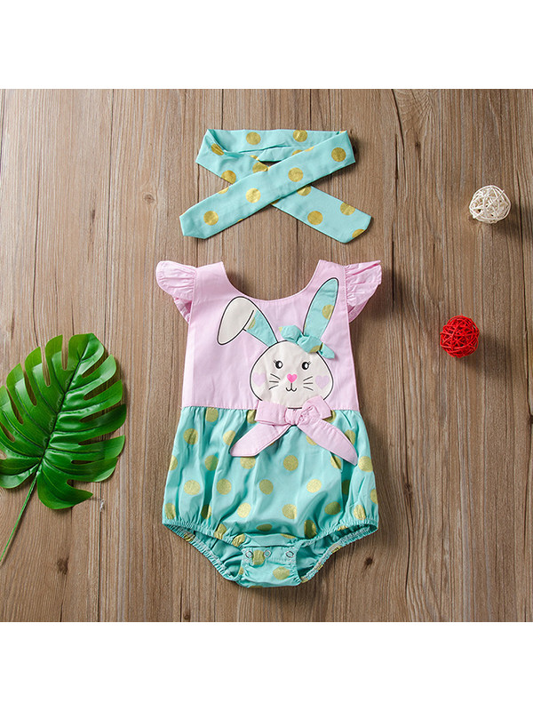 【6M-3Y】Baby Girl Pink Cartoon Bunny Triangle Jumpsuit