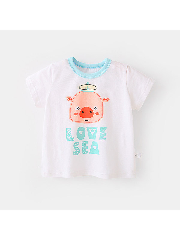 【12M-7Y】Girls Animal Print Short-sleeved Round Neck T-shirt