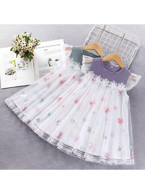 【18M-7Y】Girls Striped Mesh Stitching Dress