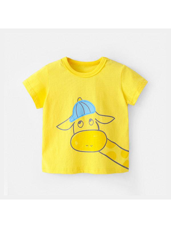 【12M-7Y】Girls Cartoon Animal Color Stiching Short-sleeved T-shirt