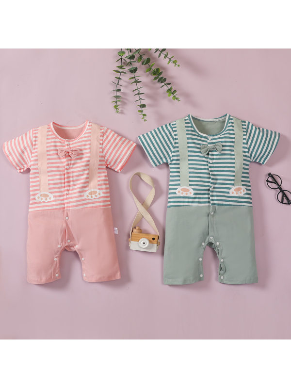 【3M-3Y】Baby Striped Stitching Sling Print Jumpsuit