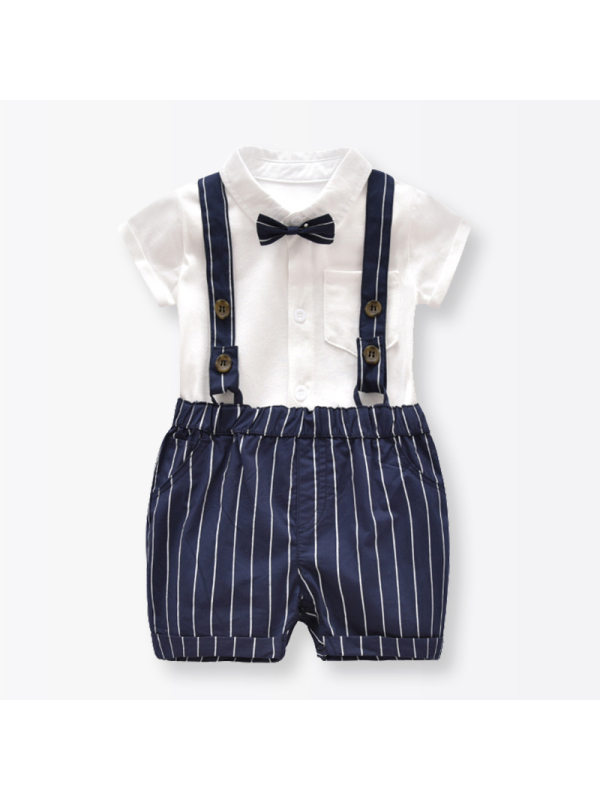 【3M-24M】Baby Short-sleeved Shirt Striped Overalls Dress Suit