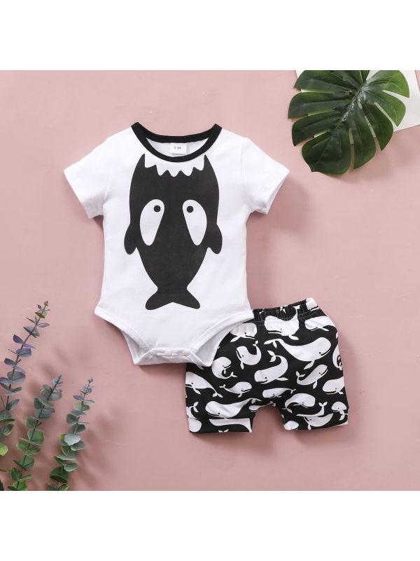 【6M-4Y】Baby Shark Print Short Sleeve Romper Shorts Two-Piece Set