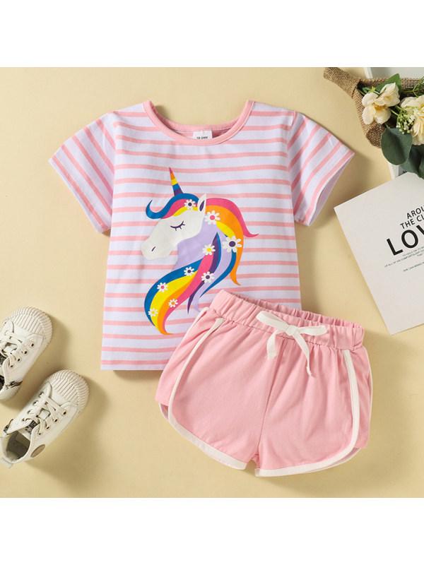 【18M-6Y】Cute Unicorn Print Striped T-shirt And Shorts Set