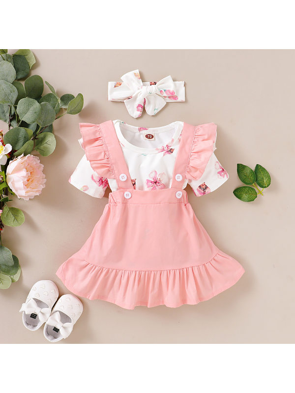 【6M-3Y】Cute Floral Romper And Pink Skirt Suit
