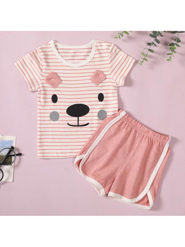 【9M-3Y】Cute Cartoon Print Striped T-shirt And Shorts Set