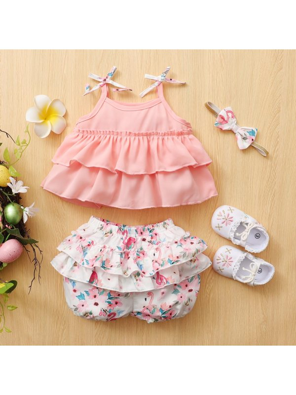 【3M-2.5Y】Cute Pink Top And Floral Shorts Set