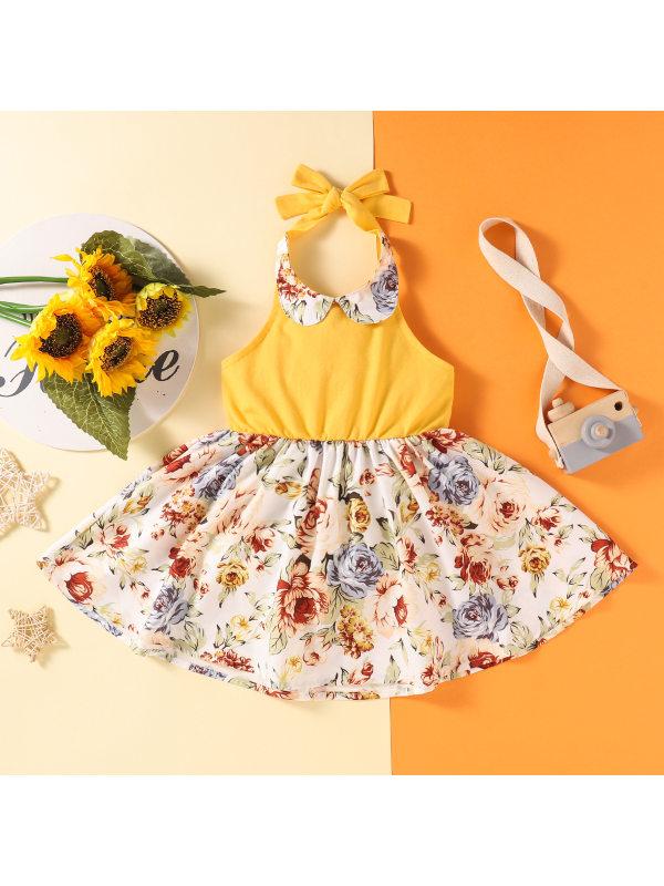 【18M-7Y】Girls Fresh Sweet Floral Hanging Neck Doll Collar Dress