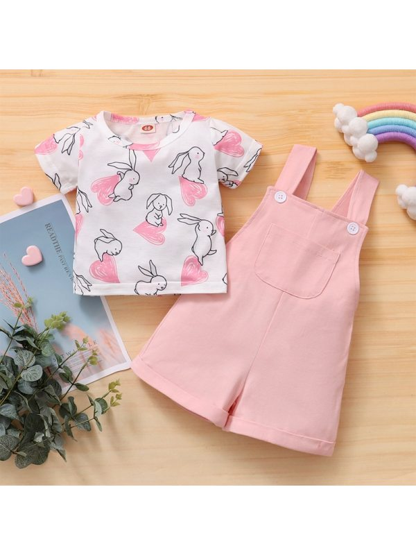 【6M-2.5Y】Cute Cartoon Printed T-shirt And Pink Overalls Set