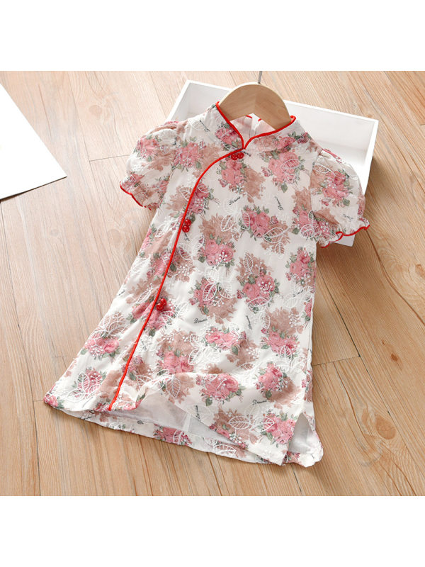 【18M-7Y】Girl Sweet Flower Chiffon Embroidered Short Sleeve Dress