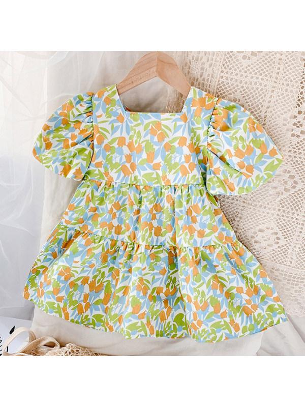 【18M-7Y】Sweet Flower Print Square Neck Dress