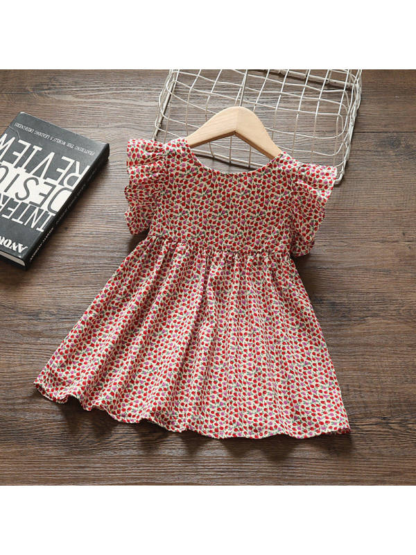 【12M-5Y】Girls Sweet Retro Floral Bare-back Lace Sleeve Dress