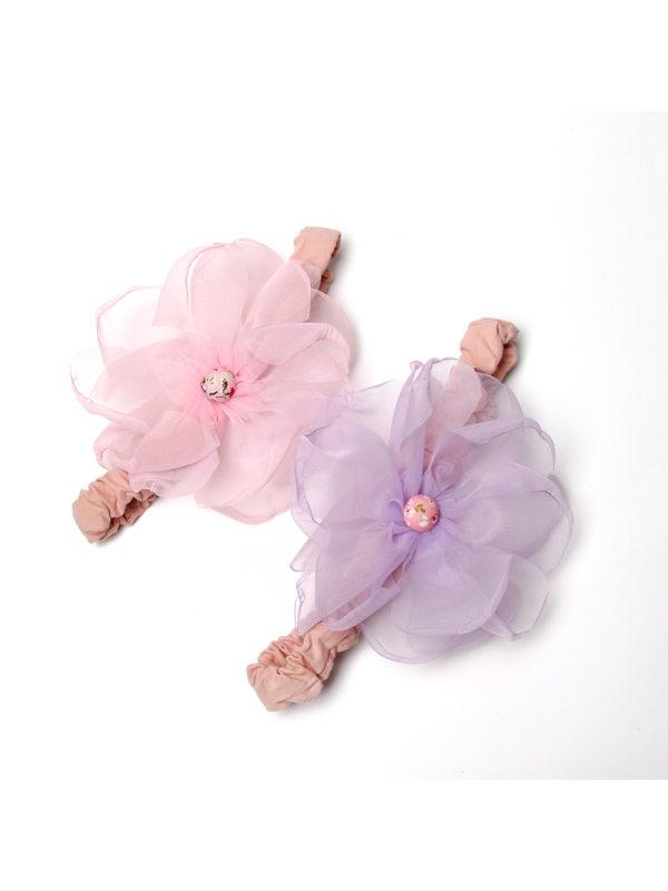 Girls Simple Sweet Mesh Flower Elastic Headband