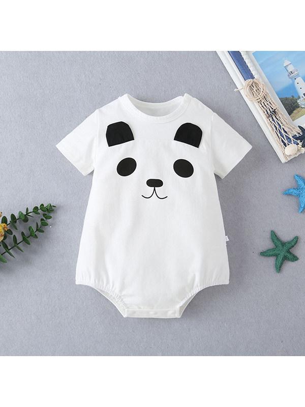 【3M-24M】Baby Round Neck Short Sleeve Cartoon Panda Triangle Jumpsuit