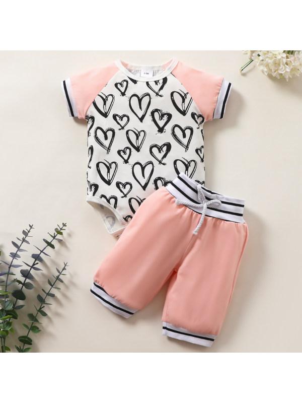 【0M-18M】Cute Heart-shaped Print Romper and Shorts Set