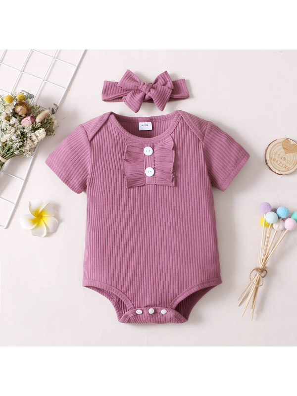 【0M-12M】Cute Round Neck Short-sleeved Romper with Headband