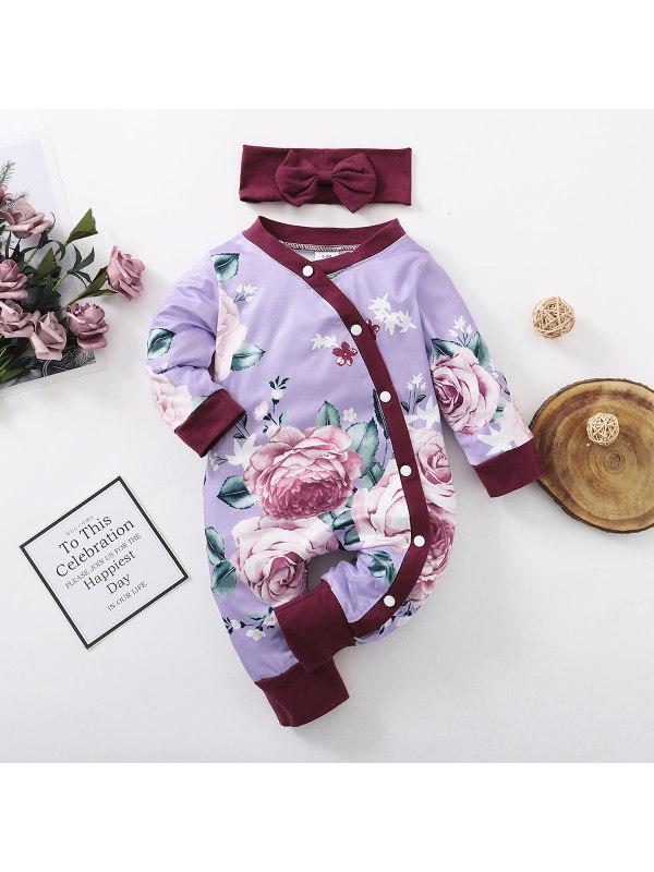 【0M-12M】Cute Flower Print Purple Romper