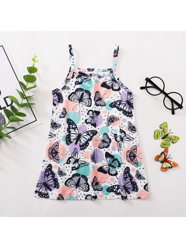 【3M-24M】Sweet Cartoon Butterfly Print Sling Dress