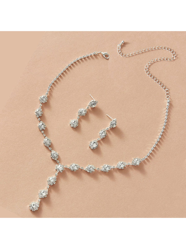Necklace Earrings Rhinestone Jewelry Bridal Set