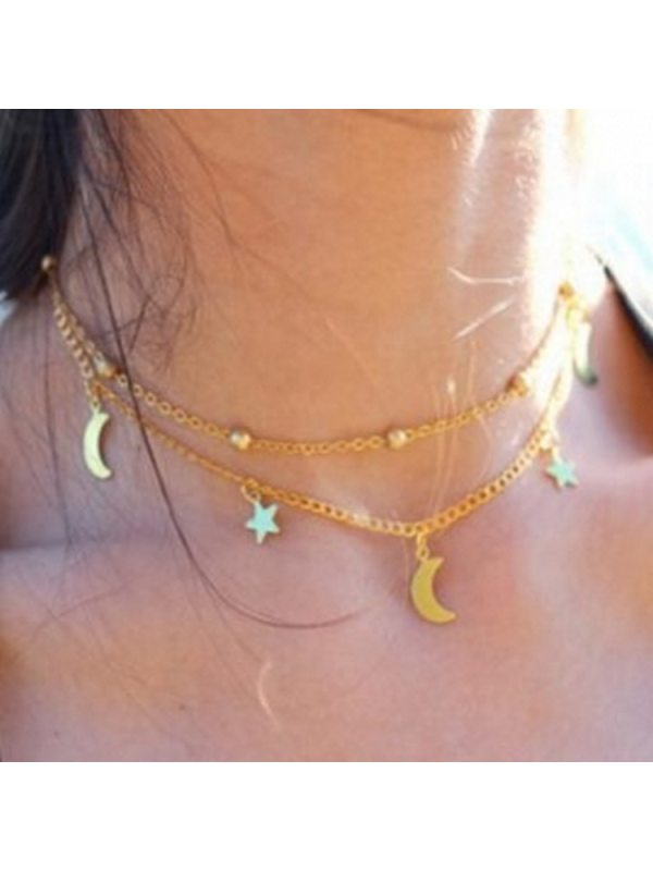 Double Moon Star Short Necklace Round Bead Clavicle Chain Necklace