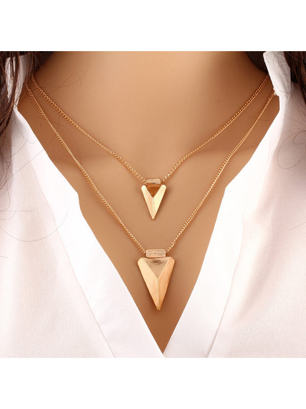 Fashionable Simple Metal Multilayer Triangle Necklace