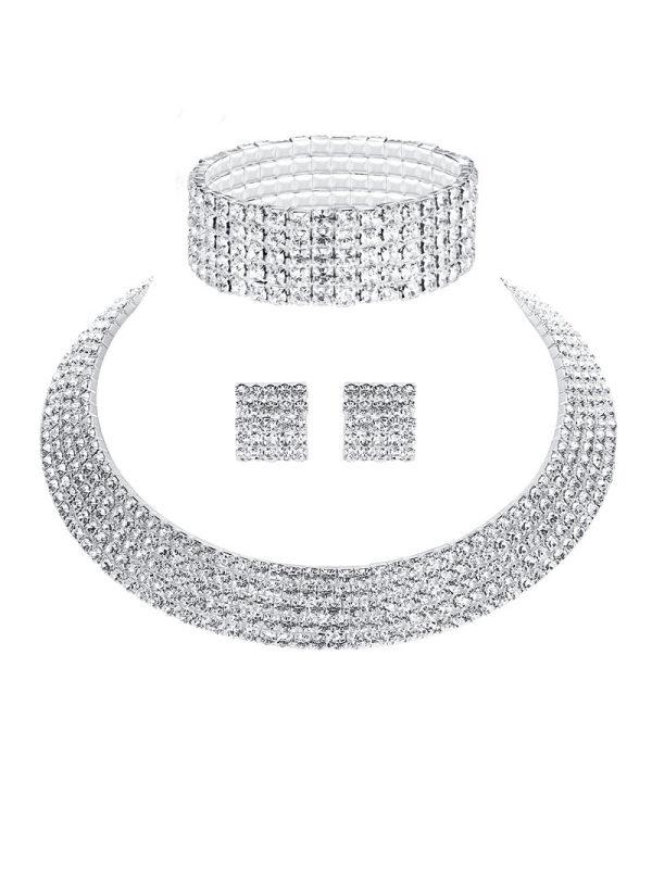 Fashion claw chain diamond bridal necklace set