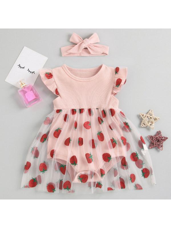 【3M-24M】Cute Strawberry Print Mesh Pink Romper
