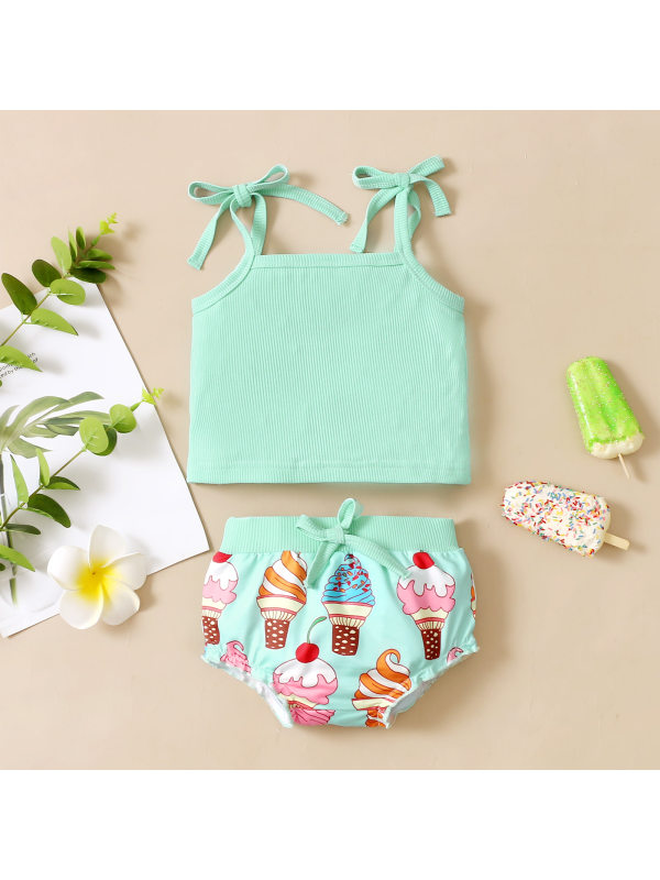 【6M-3Y】Cute Green Top and Ice Cream Print Set