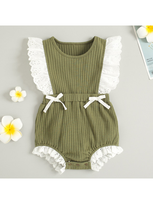 【3M-24M】Cute White Lace and Bow Green Romper