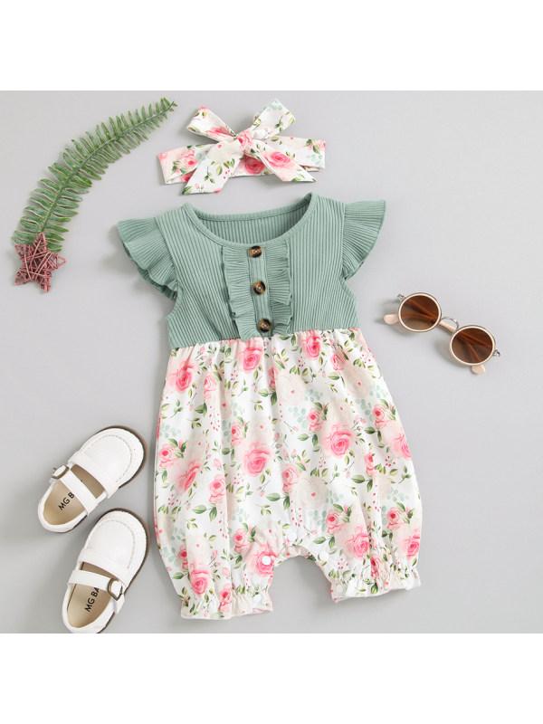 【3M-24M】Cute Floral Print Green Romper