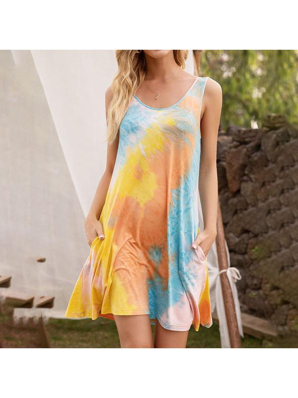 Sleeveless Round Neck Tie-Dye Printed Dress