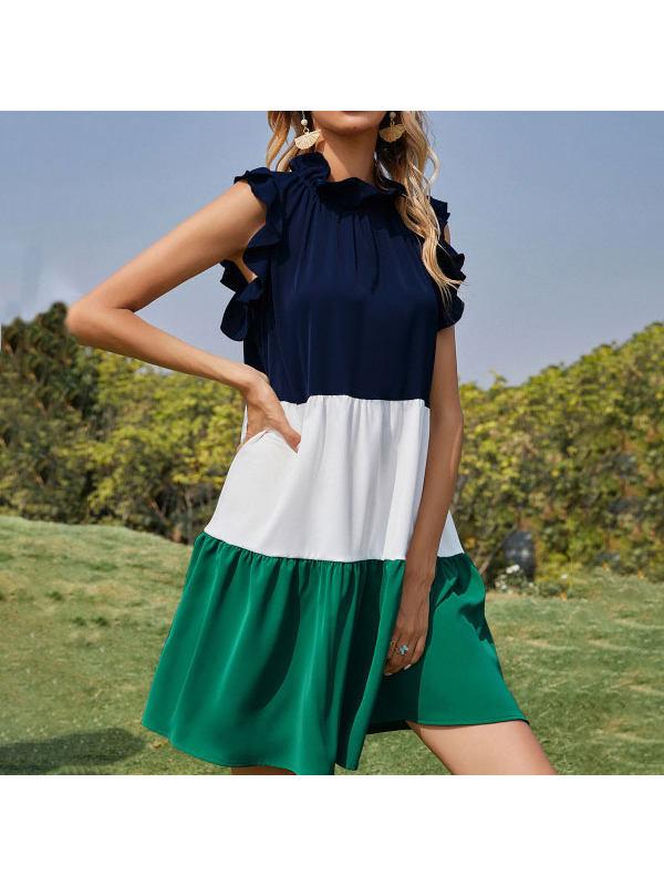 Paneled Sleeveless Ruffled Pleated Dress