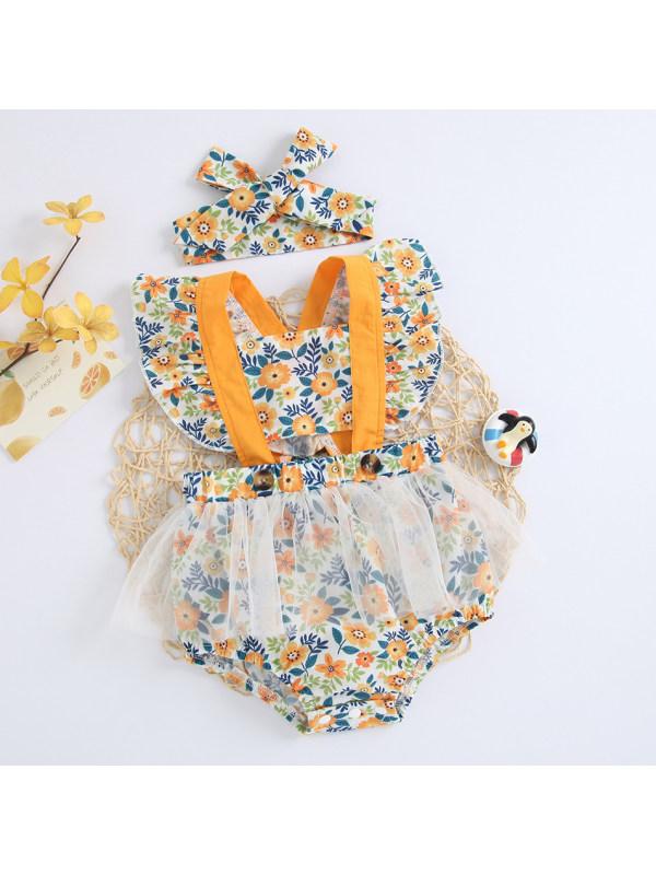【3M-24M】Cute Yellow Flower Print Romper