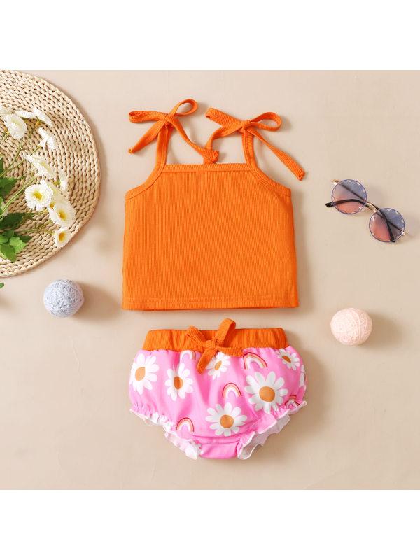 【6M-3Y】Orange Top and Flower Print Pink Shorts Set