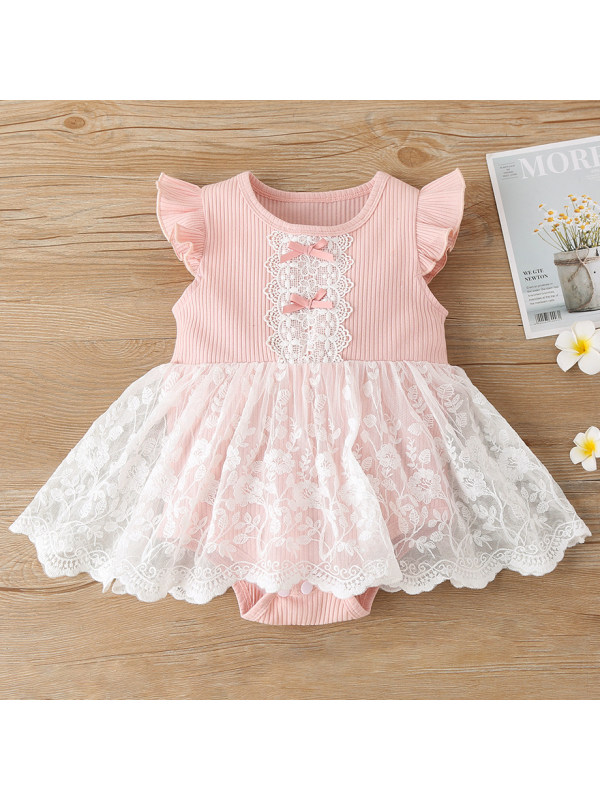 【3M-24M】Cute Bow And Lace Pink Romper