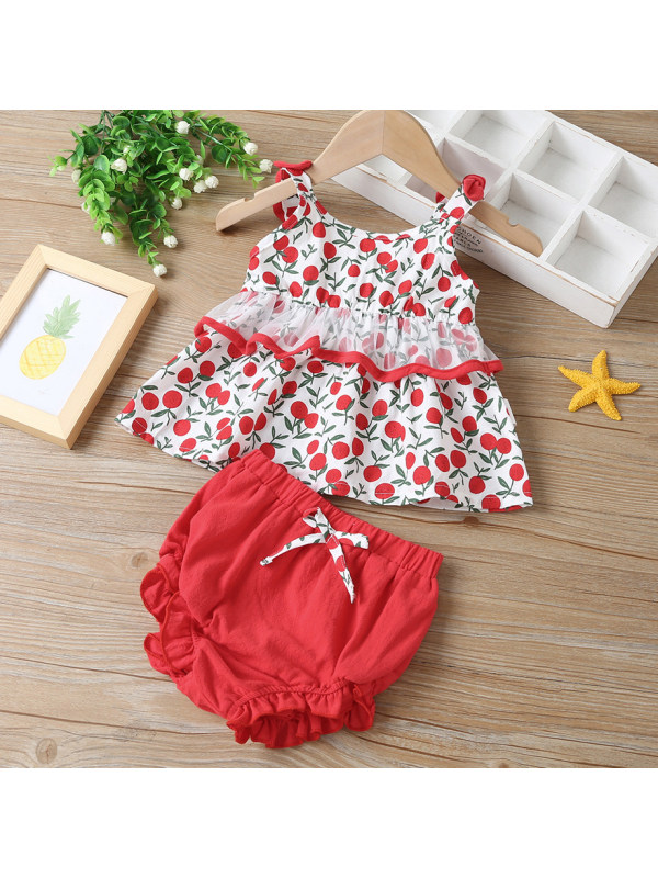【3M-24M】Cute Red Cherry Print Top and Shorts Set