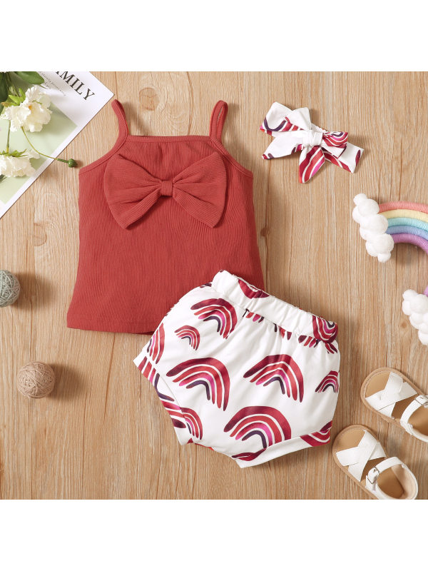 【6M-3Y】Cute Bow Red Blouse and Rainbow Print Shorts Set