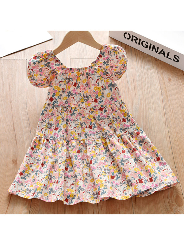 【18M-7Y】Girl Sweet Floral Puff Sleeve Dress