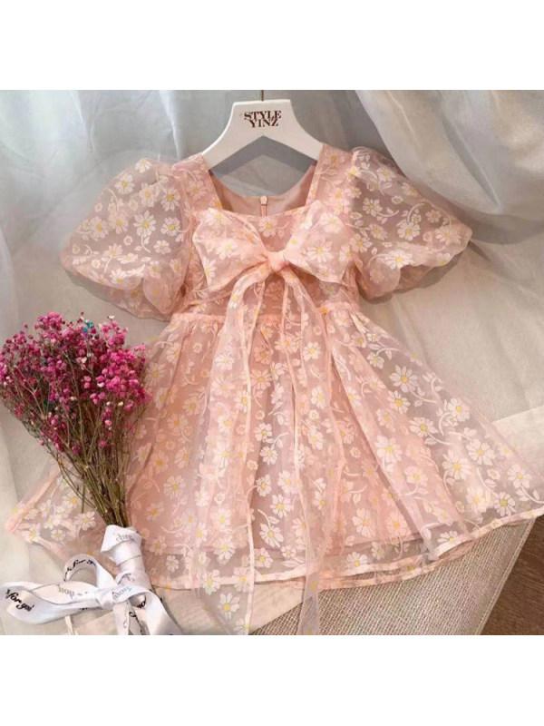 【18M-9Y】Sweet Flower Print Pink Mesh Dress