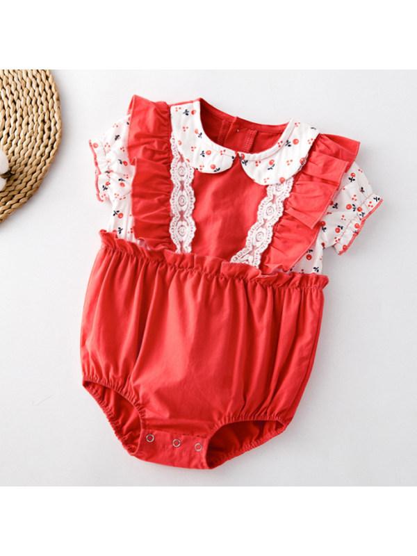 【6M-3Y】Sweet Floral Print Lace Red Romper