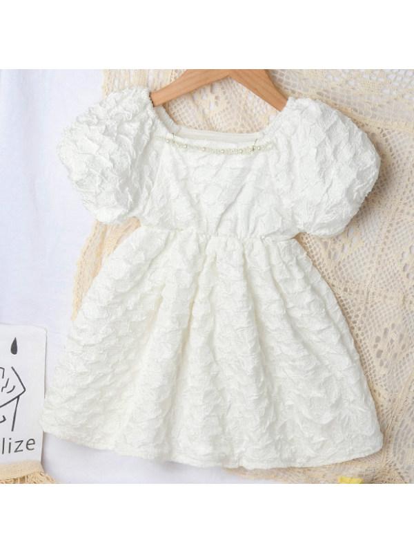 【18M-7Y】Sweet Puff Sleeve White Dress