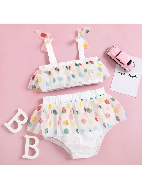 【6M-2.5Y】Cute Colorful Polka Dot Sling Top and Shorts Set