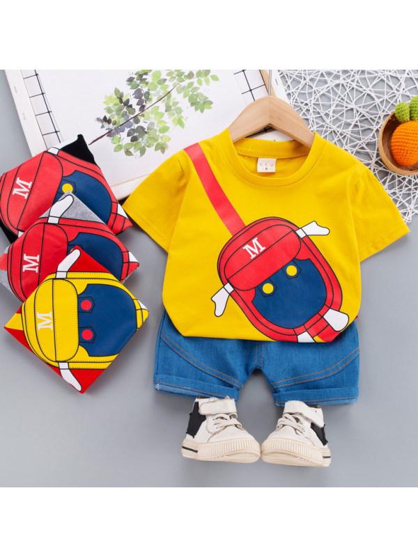 【12M-5Y】Casual Fashion Cartoon Printed T-shirt and Shorts Set