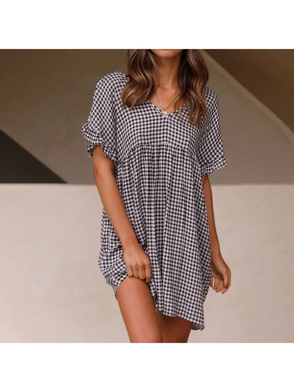 Check Printed V-Neck Short Sleeve Loose Dress