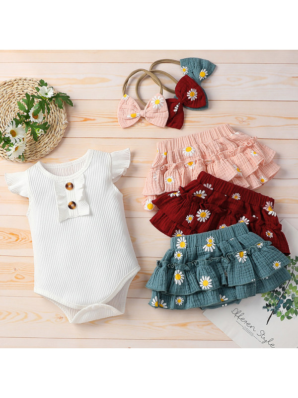 【6M-3Y】Baby Girl Sweet Flower Romper with Hairband