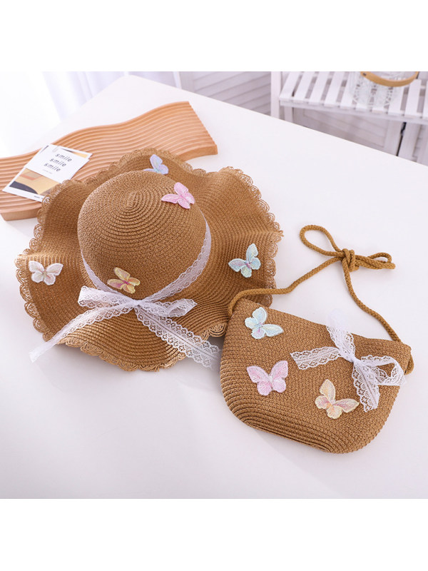 Sweet Lace Bow and Butterfly Hat and Bag Set