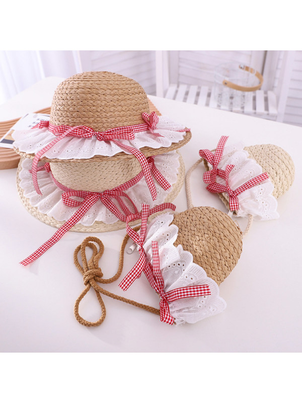 Sweet Red Plaid Bow and Lace Hat and Bag Set