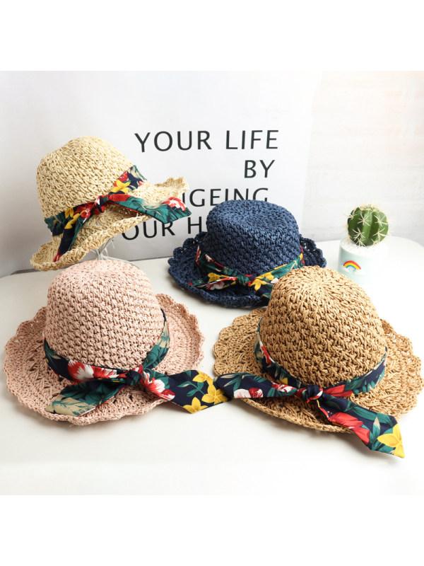 Sweet Flower Print Bow Hat